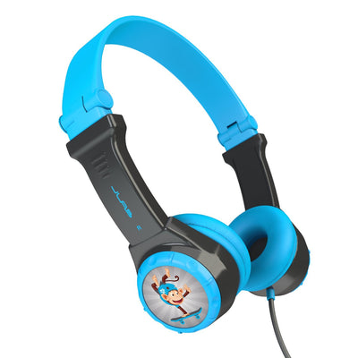 Side View of Blue and Gray JBuddies Folding Kids Headphones
