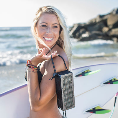 Surfer Girl with Gunmetal Crasher XL Bluetooth Speaker