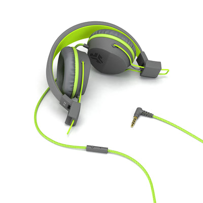 Neon On-Ear Headphones folded in green