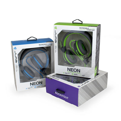 Neon On-Ear Headphones in packaging