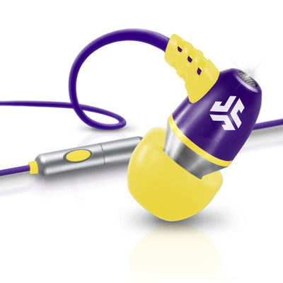 Neon Earbuds in yellow and purple