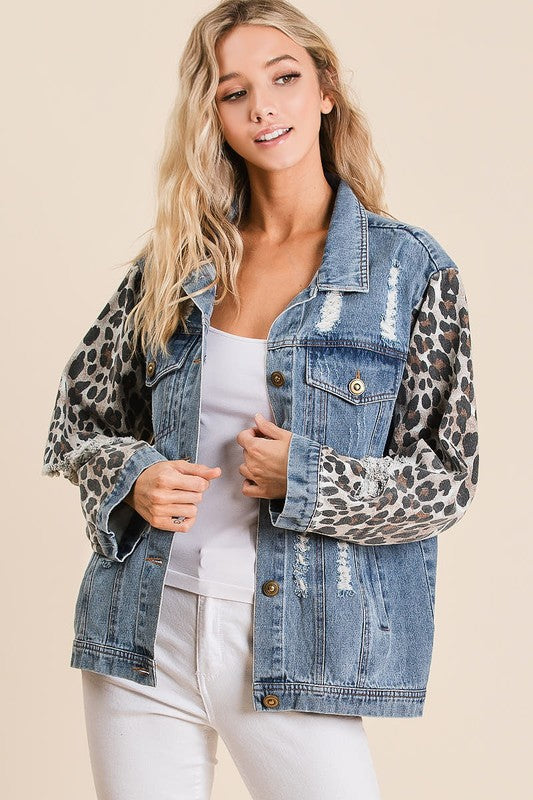 Leopard Sleeve Denim Jacket