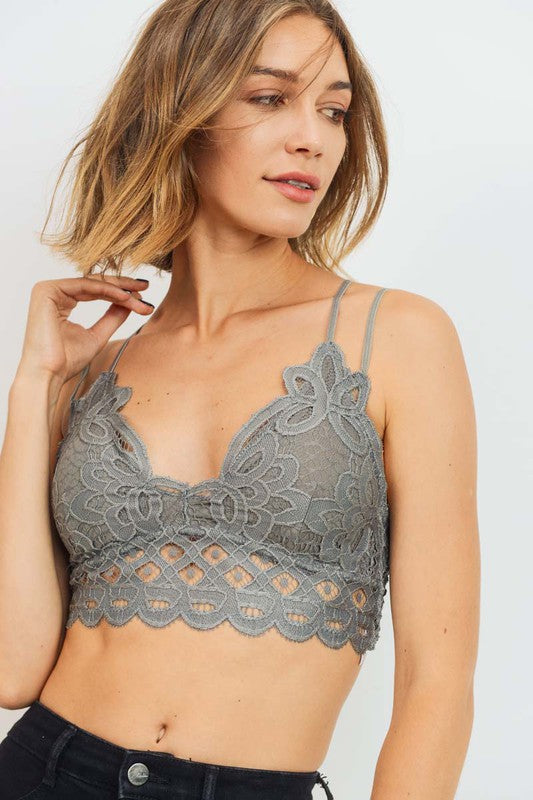 Lace Bralette Dark Grey
