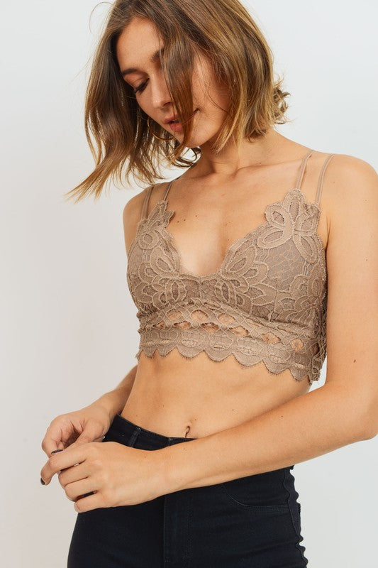 Lace Bralette Dark Taupe