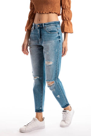 KanCan Medium Wash Distressed Jeans