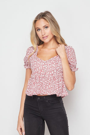 Floral Short Sleeve Crop Top