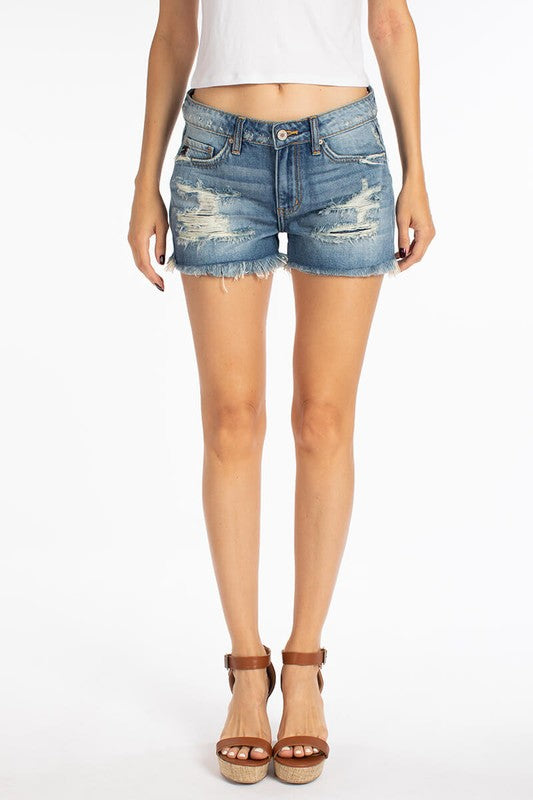 KanCan Midrise Medium Wash Distressed Shorts