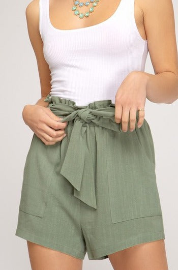 Paper Bag Shorts Light Olive