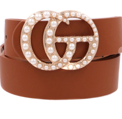 Pearl Double G Belt Brown