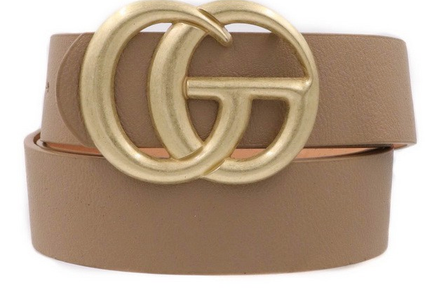 Matte Double G Belt Taupe