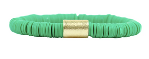 Green Disc Stretch Bracelet