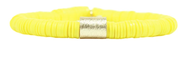 Yellow Disc Stretch Bracelet