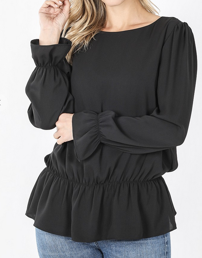 Woven Puff Sleeve Blouse