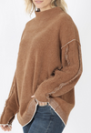 Exposed Seam Mock Neck Sweater