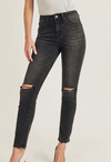 Risen Distressed Knee Black Denim