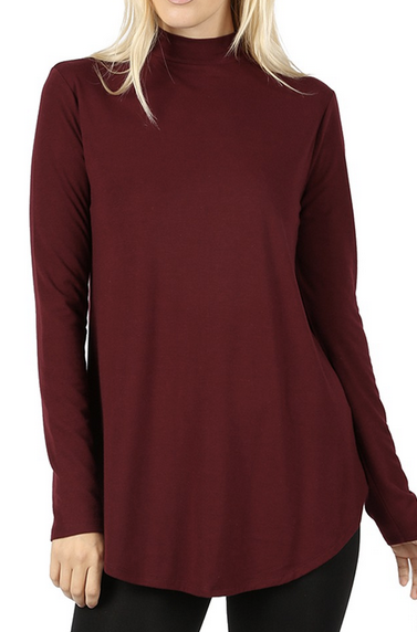 Long Sleeve Mock Neck Flowy Top