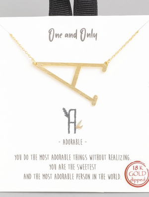 One and Only Inital Necklace Gold
