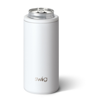 Swig Matte White Skinny Can Coozie