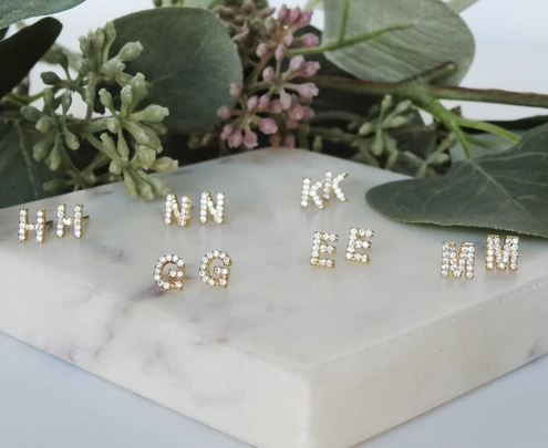 Stud Initial Earrings