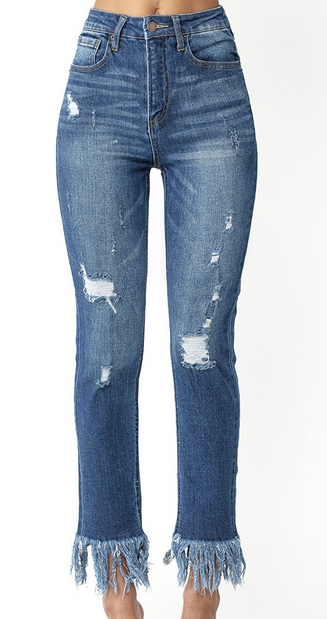 Risen Distressed Long Freyed Hem Denim