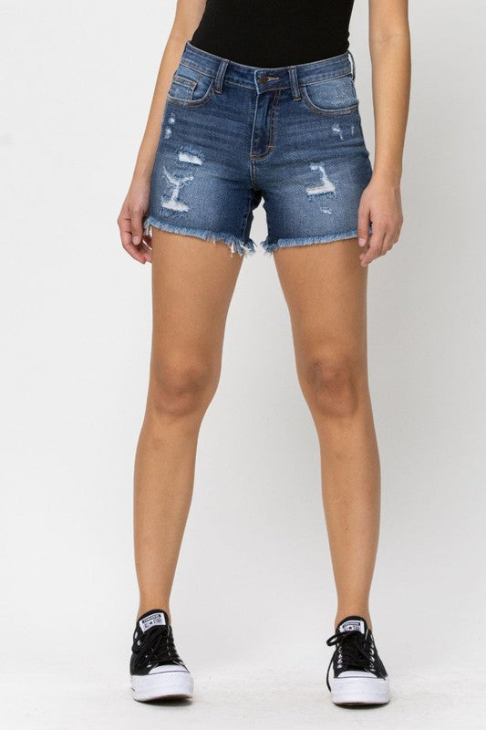 Cello High Rise Dark Denim Shorts