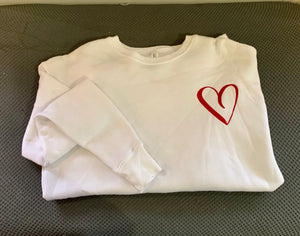 White Red Heart Sweatshirt