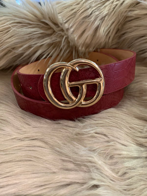 Double G Garnet Snakeskin Belt