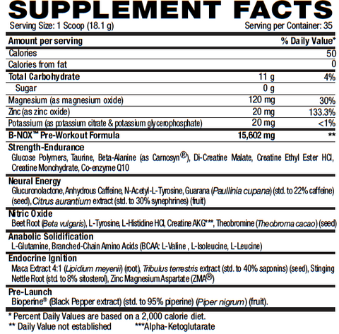 B-NOX Supplement Facts