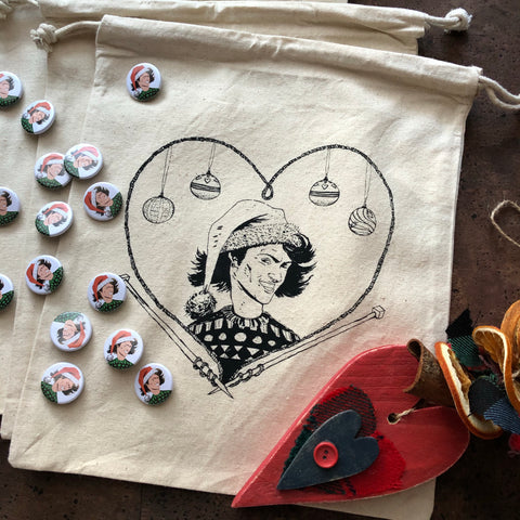 Christmas George (Last Christmas) Project bag and pin supporting akt