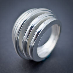 Round Slated Silver Ring