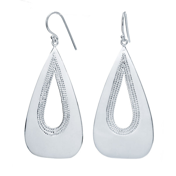 Polished Teardrops with Inset Rope Filigree