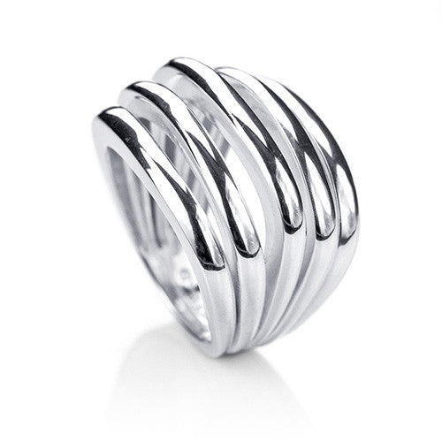 Square Slated Silver Ring