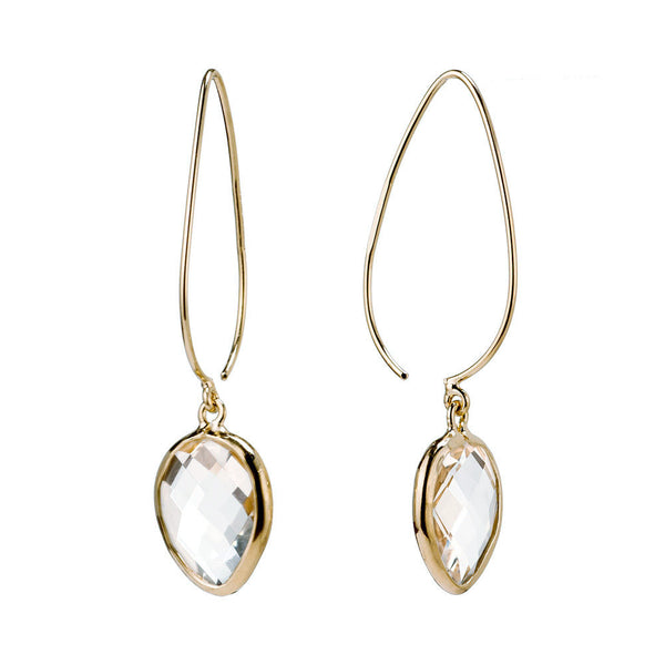 Clear Quartz Pear Stiletto Earrings