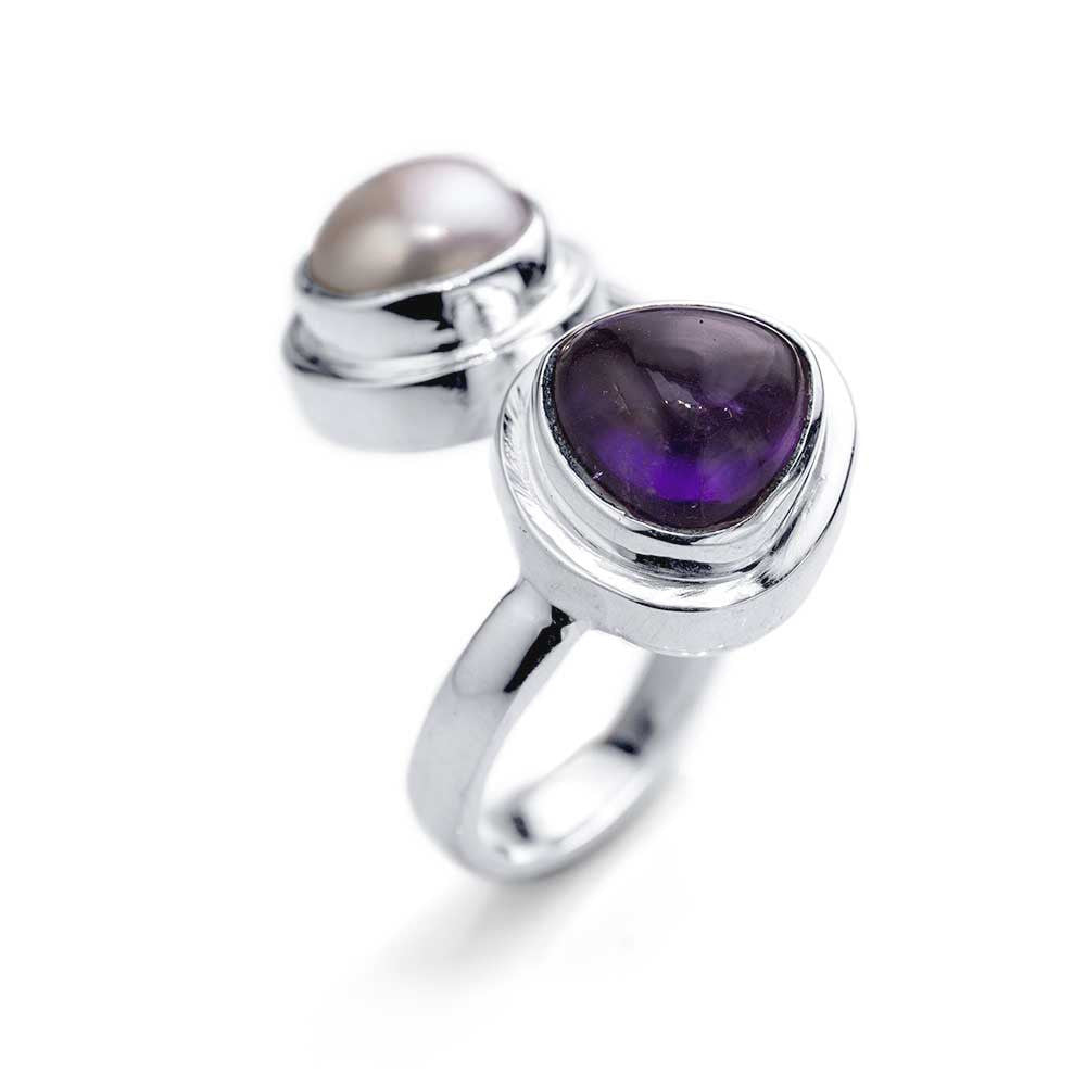 Bypass Ring with Pearl and Amethyst