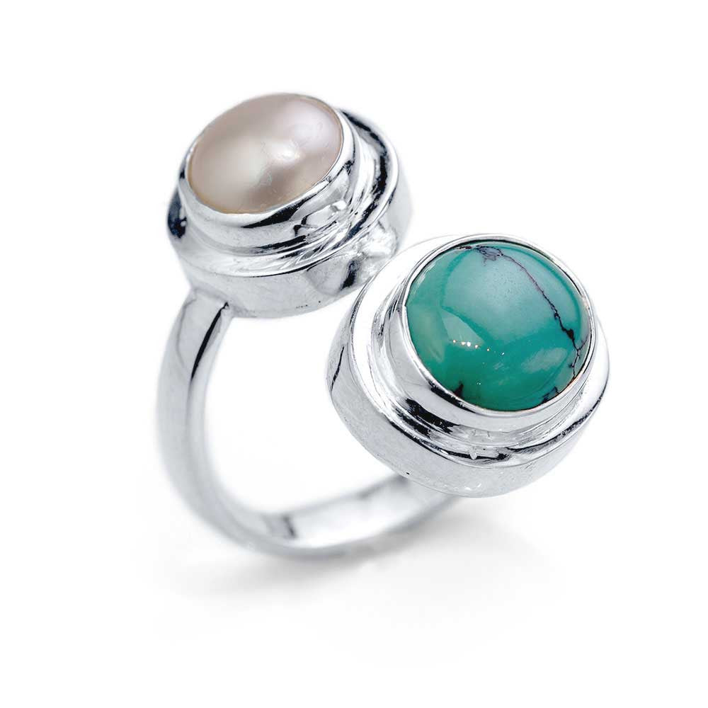 Bypass Ring with Pearl and Turquoise