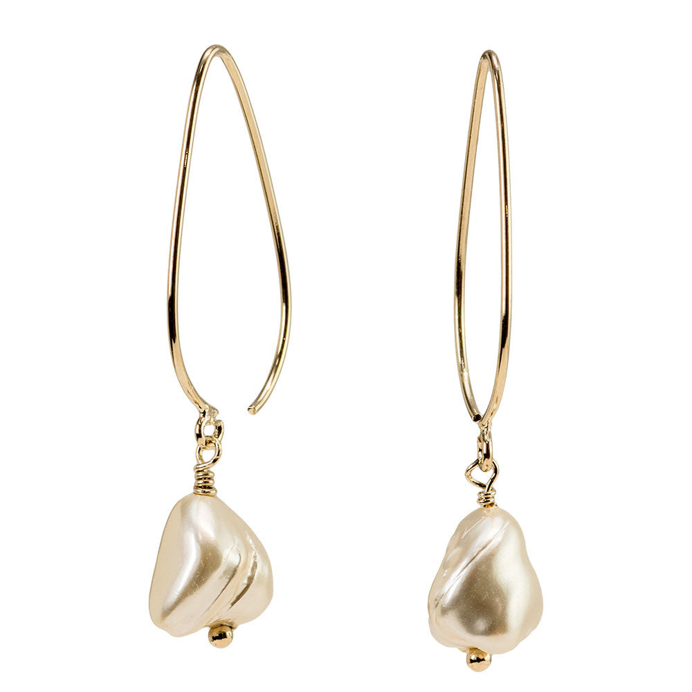 Baroque Mother Of Pearl Nugget Stiletto Earrings