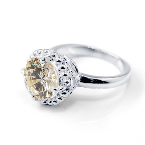 Canary CZ Rope Basket Sterling Silver Ring
