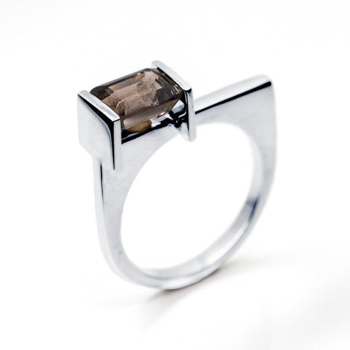 Emerald Cut Smokey Quartz Sterling Silver Ring