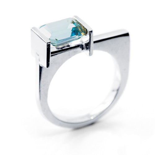 Emerald Cut Blue Topaz Sterling Silver Ring