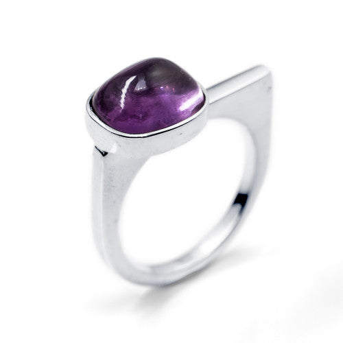 Amethyst Cushion Cabochon Sterling Silver Ring