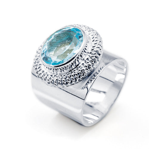 Coil Set Filigree Blue Topaz Sterling Silver Ring