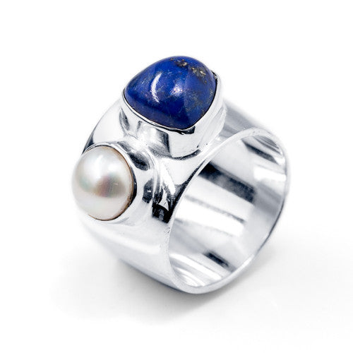Trillion Cabochon Lapis and Freshwater Pearl Sterling Silver Ring