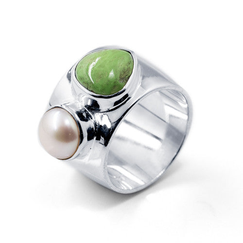 Trillion Cabochon Gaspeite  and Freshwater Pearl Sterling Silver Ring