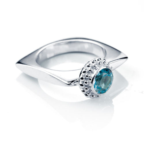 Double Row Granulation Set Blue Topaz Sterling Silver Ring