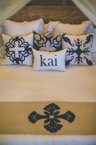 Embroidered Lanikai Bed Runner