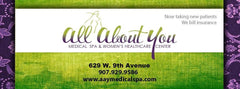 ALL ABOUT YOU $100.00 GIFT CERTIFICATE VALID TOWARDS ANY GENERAL SPA MENU ITEM.