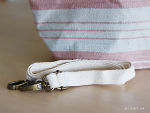 Handwoven cotton bag, pink/white