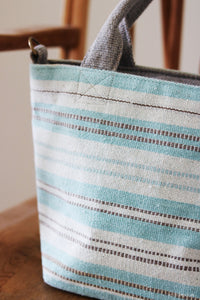 Handwoven cotton bag, turquoise stripes