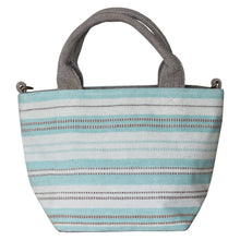 Load image into Gallery viewer, Handwoven cotton bag, turquoise stripes