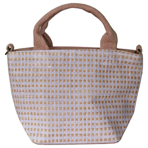 Handwoven cotton bag, light purple/brown
